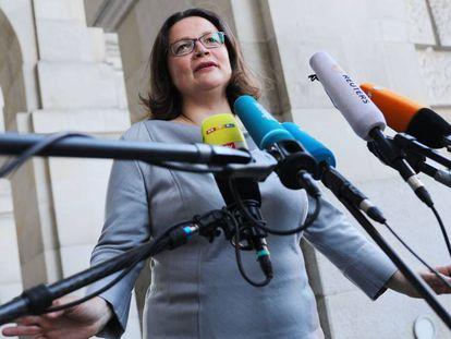 Andrea Nahles, líder del SPD, antes de la reunión de Gobierno de este jueves.