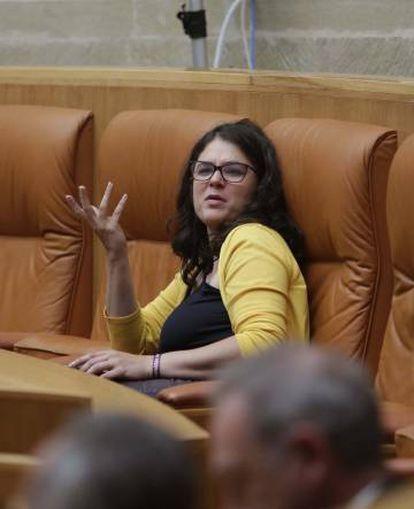 Raquel Romero, diputada de Podemos en La Rioja, durante el pleno de este jueves.