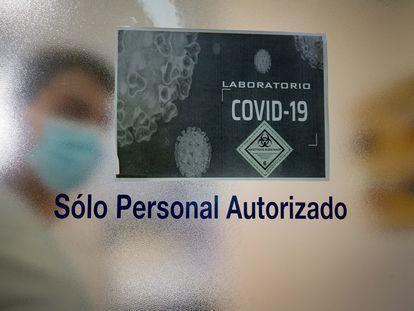Área de análisis de pruebas de covid-19 en el laboratorio de microbiología del Hospital de la Paz, en Madrid.