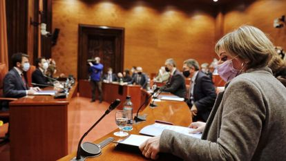 Un momento de la reunión de la mesa de partidos del Parlamento catalán.