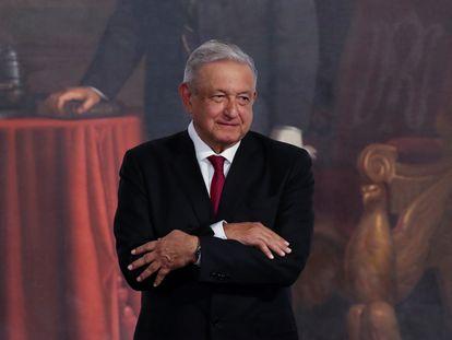 Andrés Manuel López Obrador durante el tercer informe presidencial, este miércoles.
