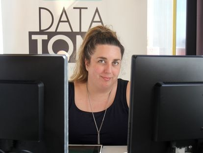 La CEO de Datatons, Inés Huertas, en La Nave de Villaverde (Madrid)