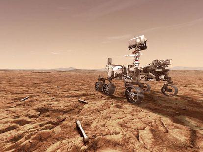 Recreación del vehículo explorador 'Perseverance' y las cápsulas de muestras que se prevé que deposite en Marte.