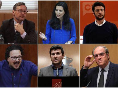 De izquierda a derecha y de arriba a abajo, Alfonso Serrano (PP), Rocío Monasterio (Vox), César Zafra (Cs), Jacinto Morano (Unidas Podemos IU Madrid en Pie), Pablo Gómez Perpinyà (Más Madrid) y Ángel Gabilondo (PSOE).