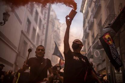 Manifestación de extrema derecha desde la plaza de Chueca hasta la Puerta del Sol el pasado sábado.