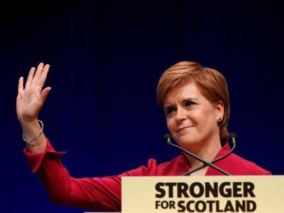 Nicola Sturgeon, durante su intervención de hoy en el congreso de su partido en Aberdeen.