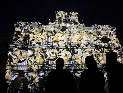 Proyecciones de luz sobre la Plaza Mayor de Salamanca.