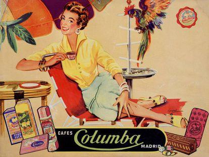 Anuncio de Cafes Columba, obra de Grans (1950).