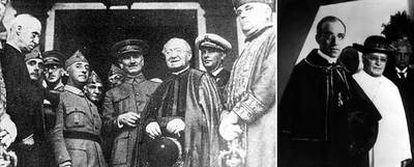 Franco, junto al general Queipo y el cardenal de Sevilla Ilundain, en 1936. A la derecha, Pío XI (de blanco) y el cardenal Pacelli, futuro Pío XII.