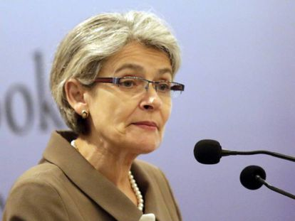 La directora general de la UNESCO, Irina Bokova, ofrece un discurso sobre paz este martes en Sri Lanka.