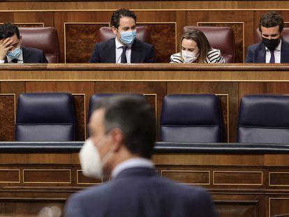 El presidente del Gobierno, Pedro Sánchez, interviene este jueves en una sesión de control al Gobierno, en el Congreso de los Diputados, Madrid, (España).