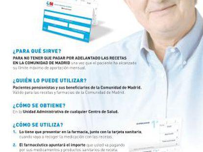 Cartel informativo de Sanidad sobre la tarjeta que evita pagar fármacos por adelantado.
