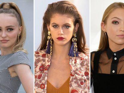 De izquierda a derecha: Lily-Rose Depp, Kaia Gerber y Lila Moss.