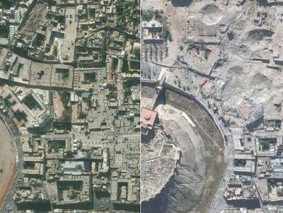 Dos imágenes tomadas por satélite de la ciudad siria de Alepo, el 21 de noviembre de 2010 (izquierda) y el 22 de octubre de 2014 (derecha). En las imágenes se muestra la desaparición de monumentos históricos, como el Hotel Carlton (arriba a la izquierda) donde ahora solo se aprecian cráteres.