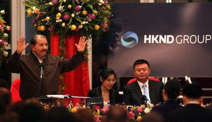 Daniel Ortega, junto al empresario chino Wang Jing.