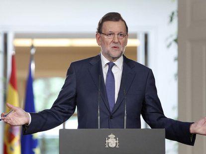 El presidente del Gobierno, durante la rueda de prensa que ha ofrecido en La Moncloa.