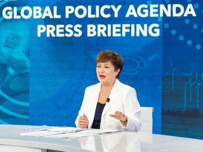 La directora gerente del Fondo Monetario Internacional (FMI), Kristalina Georgieva, en una comparecencia durante la reunión anual de la institución de este mes.