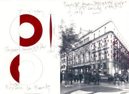 Apuntes de Amat sobre el tamaño de los aros y fotomontaje de cómo quedarían sobre la fachada del Liceo.