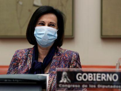 La ministra de Defensa, Margarita Robles, este lunes en el Congreso.