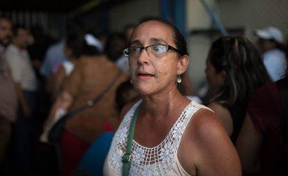 Georgina Rodríguez, en la Dirección de Migración, en Managua.