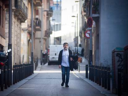 Jordi Sànchez llega el pasado viernes a la fundación Canpedró, donde hace labores de voluntariado.
