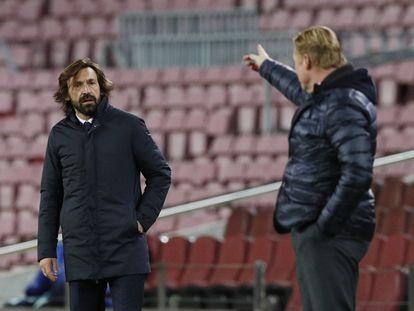 Pirlo y Koeman, en el Barcelona-Juventus en el Camp Nou.