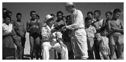 Orson Welles durante el rodaje en Brasil.