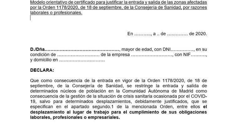 Justificante de movilidad covid para motivos laborales compartido por la Comunidad de Madrid.