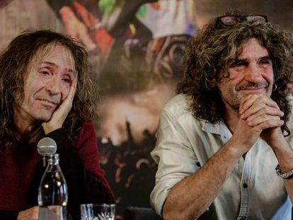 Roberto Iniesta e Iñaki 'Uoho' Antón de Extremoduro durante la rueda de prensa en Madrid. En vídeo, declaraciones de Extremoduro.