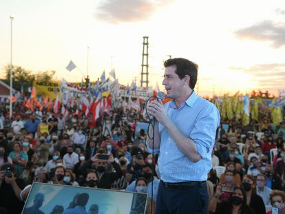 Eduardo de Pedro, durante un acto público en Buenos Aires, en 2019.