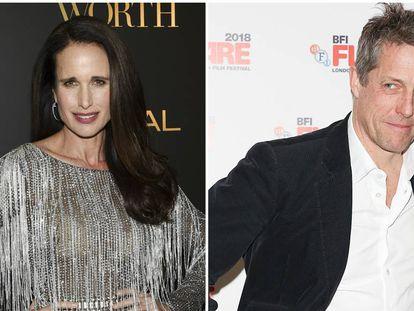Andie MacDowell y Hugh Grant en distintos eventos a finales de 2018.