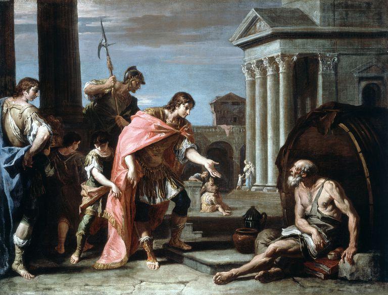 Alejandro Magno y Diógenes el Cínico.