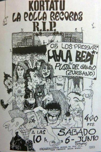 Un cartel de un concierto de los años ochenta con tres bandas punk: Kortatu, La Polla Records y R.I.P.