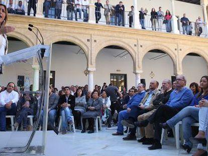 La candidata socialista Susana Díaz, en un acto en Osuna (Sevilla).