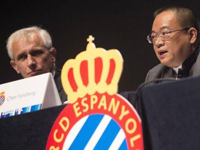 Chen Yansheng y García Pont, presidente y vicepresidente del Espanyol.