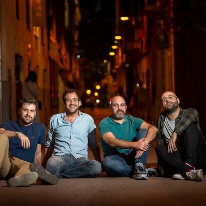 Miembros del podcast La Sotana. De izquierda a derecha, Andreu Juanola, Joel Díaz, Magí García y Manel Vidal.