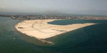 Imagen de satélite (2012) de la superficie donde se levantará Atlantic City.