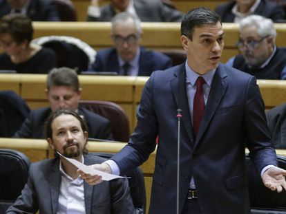 Pedro Sánchez en el Senado, hoy. En vídeo, Sánchez y Maroto se enzarzan en el Senado.
