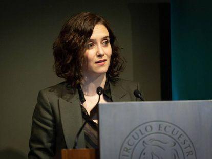 Isabel Díaz Ayuso, durante su discurso en el Círculo Ecuestre de Barcelona este viernes.