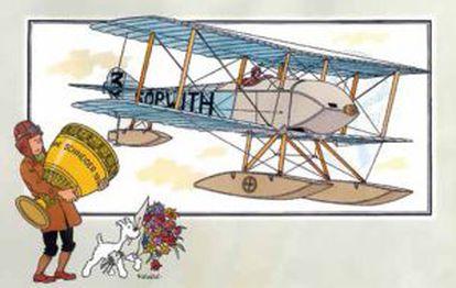 Tintín y Milú junto a un avión de 1914.