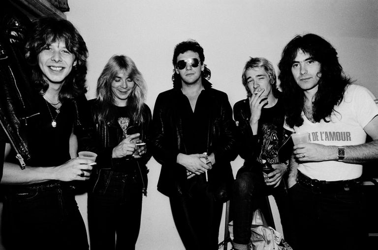 Iron Maiden before a concert in Illinois, United States, on June 26, 1981. From left to right, Clive Burr (drums), Dave Murray (guitar), Paul Di'Anno (voice), Adrian Smith (guitar) and Steve Harris (bass).