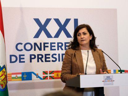 La presidenta riojana, la socialista Concha Andreu, durante la XXI Conferencia de Presidentes de este viernes en San Millán de la Cogolla (La Rioja).