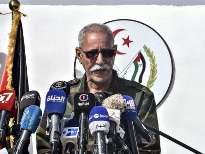 El líder del Frente Polisario y presidente de la República Árabe Saharaui Democrática (RASD), Brahim Gali, el pasado 27 de febrero en los campos de refugiados saharauis de Tinduf.
