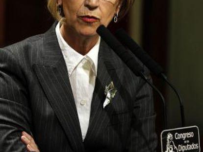 La líder de UPyD, Rosa Díez, durante su intervención en el debate sobre el estado de la nación.