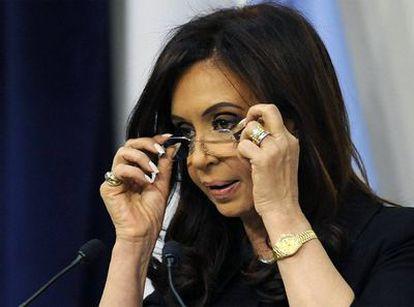 La presidenta de Argentina, Cristina Fernández de Kirchner, durante la rueda de prensa en la que ha explicado las acciones del Gobierno contra Papel Prensa