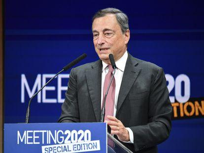 El expresidente del BCE Mario Draghi, este martes en Rimini (Italia).