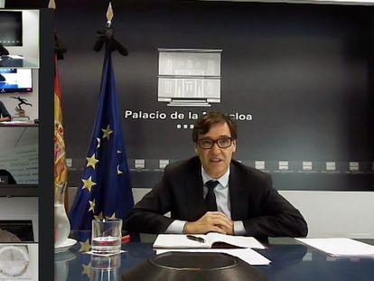 Salvador Illa, en videoconferencia con Irene Lozano, Illarramendi, Carvajal y Koke.