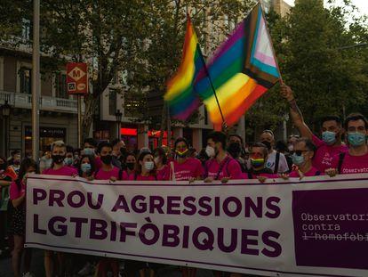 Protesta en Barcelona contra las agresiones LGTBIfóbicas la semana pasada.