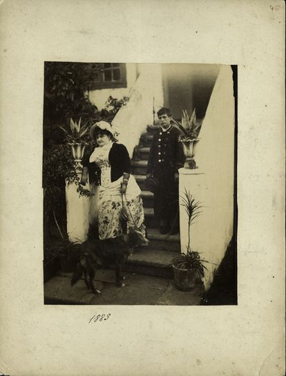 Emilia Pardo Bazán, fotografiada en una escalinata en 1883. / MUSEO LÁZARO GALDIANO