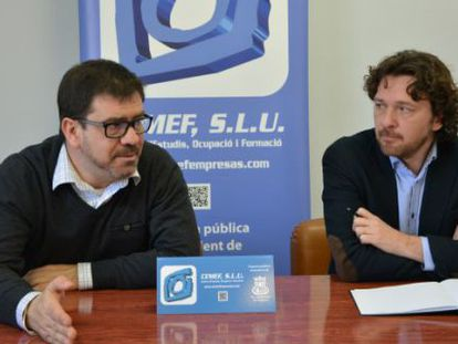 El concejal de Promoción Económica, Emili Altur, junto al responsable de Felidarity, Roberto Ballester.